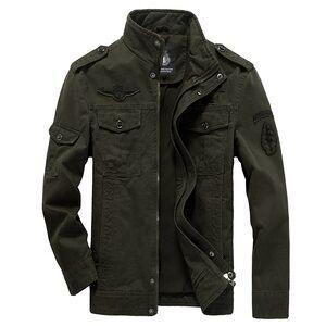 2019 New Men's Stand Collar Casual Cotton Military Zip Jackets Windproof Outdoor Coat