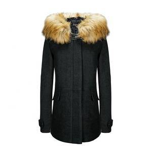 Women Winter Long  Windproof Hooded  With Fur Trench Wool Coat Warm For Lady LR-8903