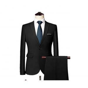 Latest Design Men Business Slim Suit Candy Solid Color Large Size Two-pieces Casual Design Suit Coat Pant Men Suit
