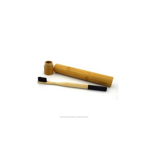 Bamboo toothbrush wih bamboo carring case