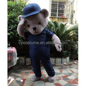 Cute adult grey plush Teddy Bear Mascot Costume