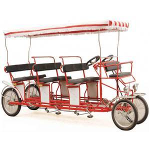Free Tariff 4 Wheel Bicycle for 4 Adults Surrey Bike, Best selling Tandem Bicycle 6 person Surrey Bike With Baby Seats