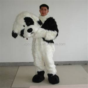 Cartoon Made White Black Dog mascot costume for adult Character Fancy Dress Adult Halloween V2