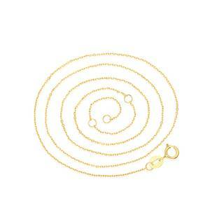 Jewelry findings adjustable 0.8MM real 9K solid gold necklace rolo chain