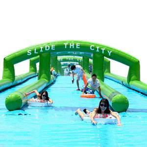 Crazy 1000 ft Inflatable Bouncy Water Slides Blow Up 300m Slide Your City Inflatable Slip and Slide for Kids And Adults