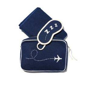 P18C083BW Popular High quality luxurious cozy cashmere travel set gift set with intarsia pouch bag throw blanket ,eye mask