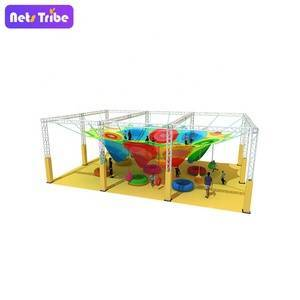 Rainbow Climbing rope nets indoor play ground for kids soft play by handmade---Honeycomb