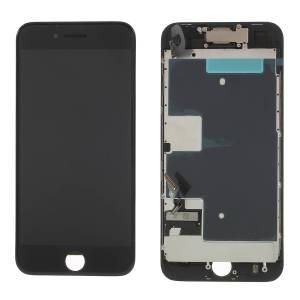 For iPhone 8 4.7-inch LCD Screen and Digitizer Assembly + Frame + Small Parts (380-450cd/m2 Brightness) - Black