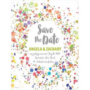 Evermine Custom Tall Save The Date Cards - Lime - Watercolor Droplets