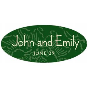 Evermine Custom Oval Labels - Deep Green - Persimmon Flower