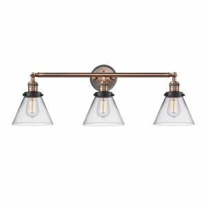 Innovations Lighting Bruno Marashlian Large Cone 32 Inch 3 Light Bath Vanity Light Large Cone - 205BP-ACBK-G42 - Nautical