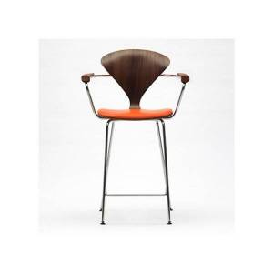 Cherner Chair Company Cherner Metal Base Stool Armchair with Seat Pad - CSTMAC02-SEAT-PAD-29-DIVINA-444 - Size: Bar - 29-In.