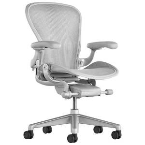 Herman Miller Aeron Office Chair - Size B, Mineral - AER1B22PWALPVPRSNASNAC7DVP23101 - Herman Miller Authorized Retailer - Style: Industrial