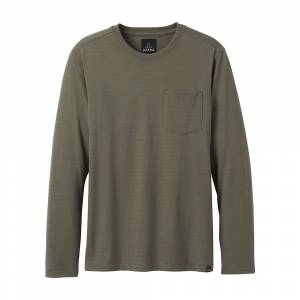 Prana Men's Red Long Sleeve Crew - Small - Rye Green