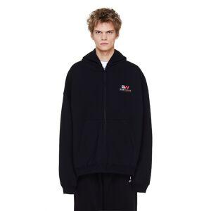 Balenciaga Black Gym Wear Zip Up Hoodie- male, L; Black