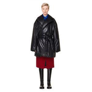 Balenciaga Black Leather Padded Wrap Coat- female, 38; Black