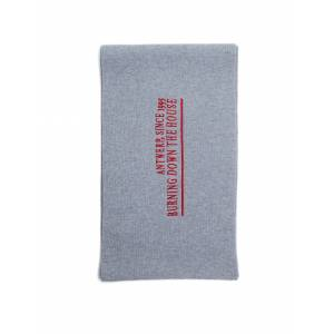 Raf Simons Embroidered Grey Wool & Cashmere Scarf- male, One Size; Grey