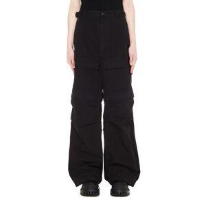 Balenciaga Zip Off Cargo Trousers- male, 50; Black