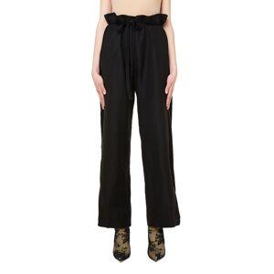 Ann Demeulemeester Black Linen Trousers- female, 40; Black