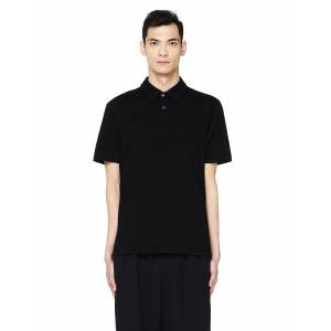 James Perse Black Cotton Polo T-Shirt- male, 3; Black