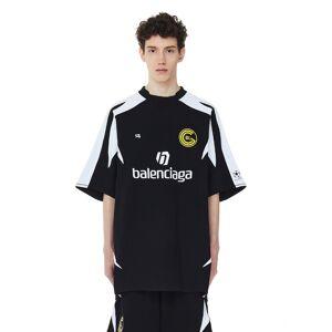 Balenciaga Jersey Logo Soccer T-Shirt- male, XXL; Black