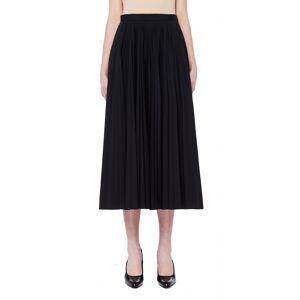 Maison Margiela Black Tech-Fabric Pleated Midi Skirt- female, 42; Black