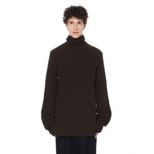 Ann Demeulemeester Khaki Turtleneck Sweater- male, L; Khaki