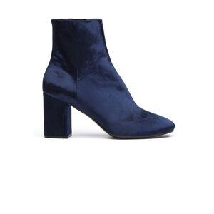 Balenciaga Ville Velvet Ankle Boots- female, 36; Navy blue