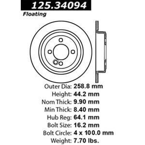 Centric Parts Mini Cooper Centric Parts Disc Brake Rotors Brakes High Carbon Alloy Brake Disc-Preferred 125.34094