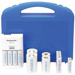 PANASONIC K-KJ17MCC82A 4-Position Charger with 2 AAA & 8 AA eneloop Batteries & 2 C & 2 D Spacers
