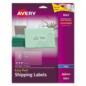 AVERY 8663 Easy Peel Inkjet Mailing Labels, 2 x 4, Clear, 250/Pack