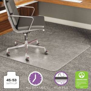 DEFLECTO CM17233 ExecuMat Studded Beveled Chair Mat, High Pile Carpet, 45w x 53l, Clear