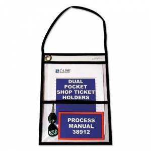 C-LINE 38912 Shop Ticket Holders, Stitched, Both Sides Clear, 9 x 12, 15/BX