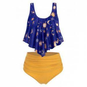 dresslily Sun Stars Moon Flounce Runched Tankini Swimsuit  - BLUEBERRY BLUE - Size: Large