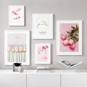 Belladonna Home Decor Nordic Pink Flamingo Rose Bouquet Feather Inspirational Wall Art Home Décor  Color C--Size 7.) Unframed/Frame Less:  18x24inch