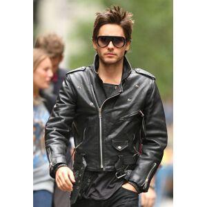 Rangoli Collection Handmade Mens Jacket, Jared Leto Leather Jacket, Black Biker Jacket XL