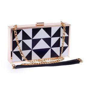 Mia & Fiona Acrylic Triangle Colorblocked Party Clutch Bag Fashion Prom Evening Handbag Purse