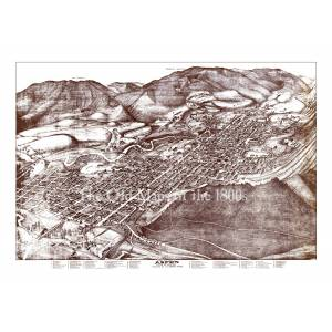 The Old Maps of the 1800s Aspen Colorado in 1893 - Bird's Eye View Map, Aerial, Panorama, Vintage, Antique, Reproduction, Giclée, Fine Art, Wall Map, History 42 x 30