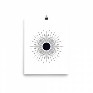 FineArt_River Black And White Sun Poster 12×16