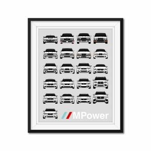"""Custom Car Posters BMW M Car Complete History/Generations Poster (all M Cars) 11x14"""" Metallic Ppr"""