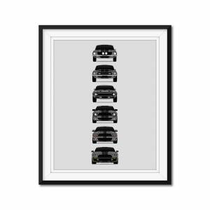 """Custom Car Posters Shelby GT500 Mustang Generations/History Poster (Grey Car/Black Stripes) 8x10"""" Satin Ppr"""