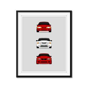 "Custom Car Posters Ford SVT Mustang Cobra R Generations/History Print 24x36"" Satin Ppr"