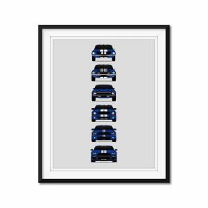 """Custom Car Posters Shelby GT500 Mustang Generations/History Poster (Blue Car/White Stripes) 24x36"""" Satin Ppr"""