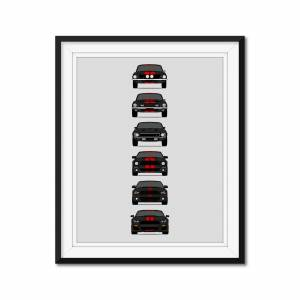 "Custom Car Posters Shelby GT500 Mustang Generations/History Poster (Black Car/Red Stripes) 24x36"" Satin Ppr"