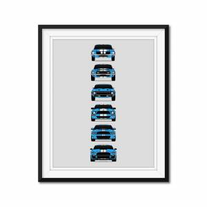 """Custom Car Posters Shelby GT500 Mustang Generations/History Poster (Grabber Blue Car/White Stripes) 24x36"""" Satin Ppr"""