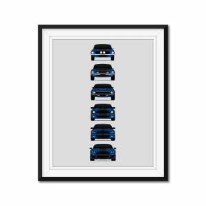"Custom Car Posters Shelby GT500 Mustang Generations/History Print (Blue Car/Black Stripes) 8x10"" Satin Ppr"