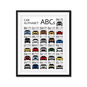 "Custom Car Posters Car Nursery ABC Alphabet Poster 8.5x11"" Satin Ppr"