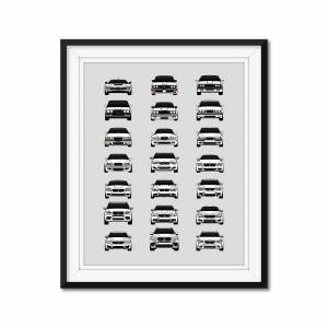 """Custom Car Posters BMW M Car Complete History/Generations Poster (all M Cars) 17x22"""" Metallic Ppr"""