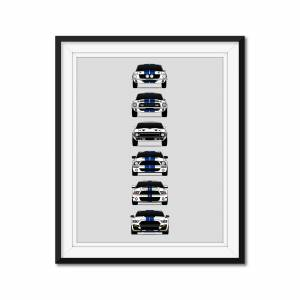 """Custom Car Posters Ford Shelby GT500 Mustang History/Generations (White Car, Blue Stripes) Poster 24x36"""" Satin Ppr"""