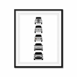 """Custom Car Posters Fiat 500 Generations Poster Print of the History and Evolution of the Fiat 500 (500 Nuova, 500L) 24x36"""" Satin Ppr"""